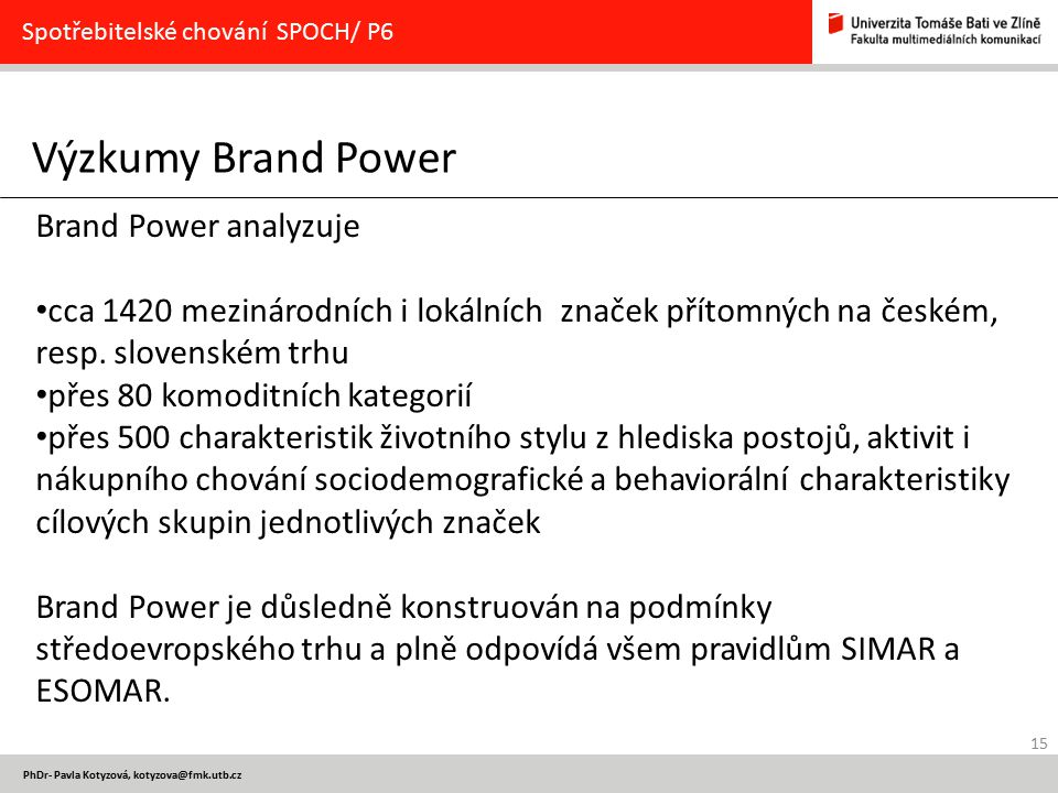 Výzkumy Brand Power Brand Power analyzuje