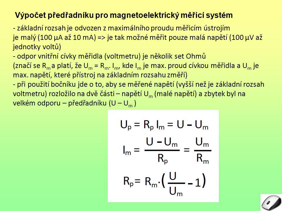 Výpočet předřadníku pro magnetoelektrický měřicí systém