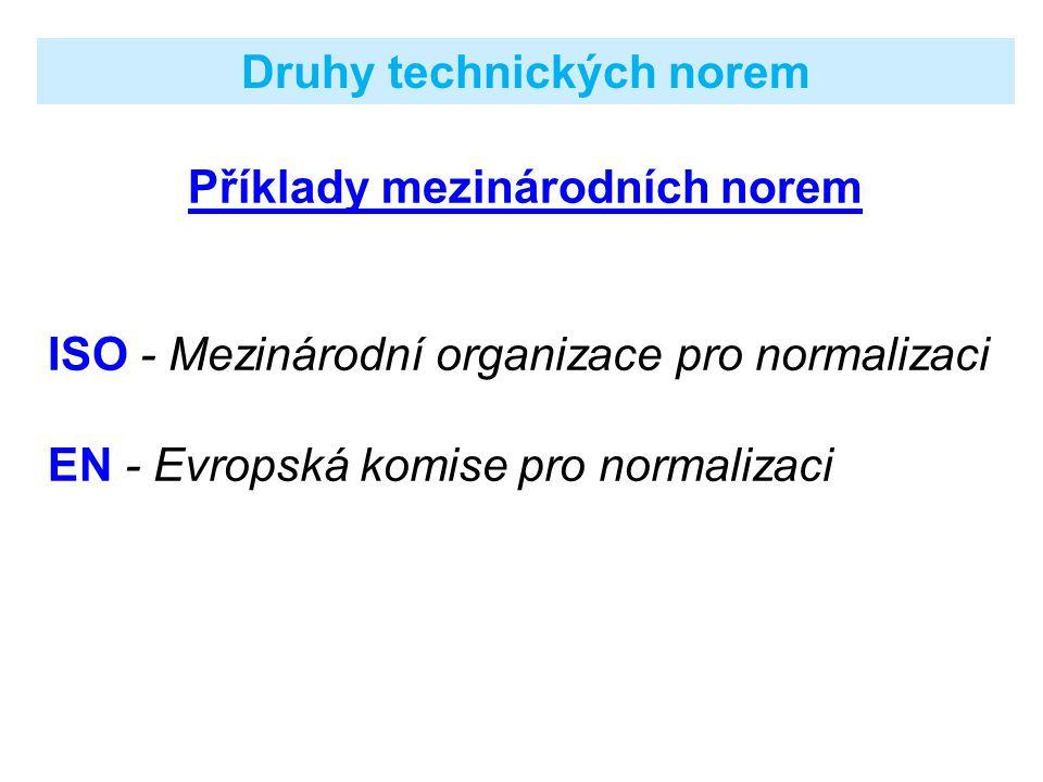 Druhy technických norem Příklady mezinárodních norem