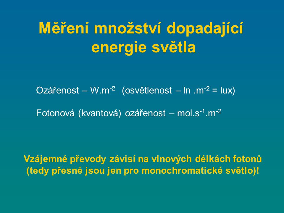 Měření množství dopadající energie světla