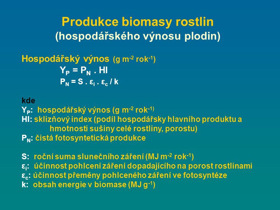 Produkce biomasy rostlin (hospodářského výnosu plodin)