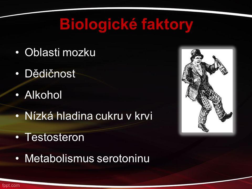 Biologické faktory Oblasti mozku Dědičnost Alkohol