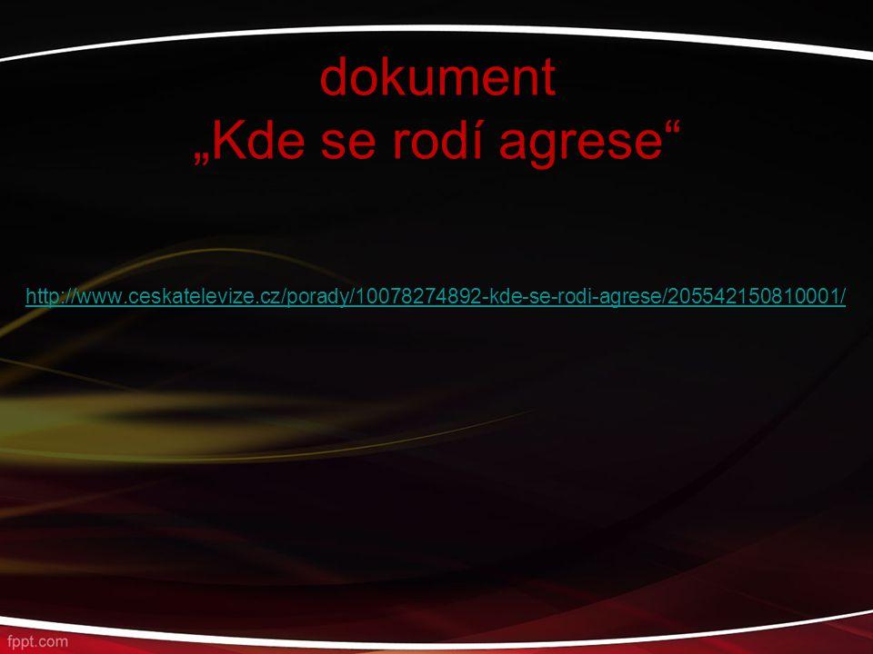 """dokument """"Kde se rodí agrese"""
