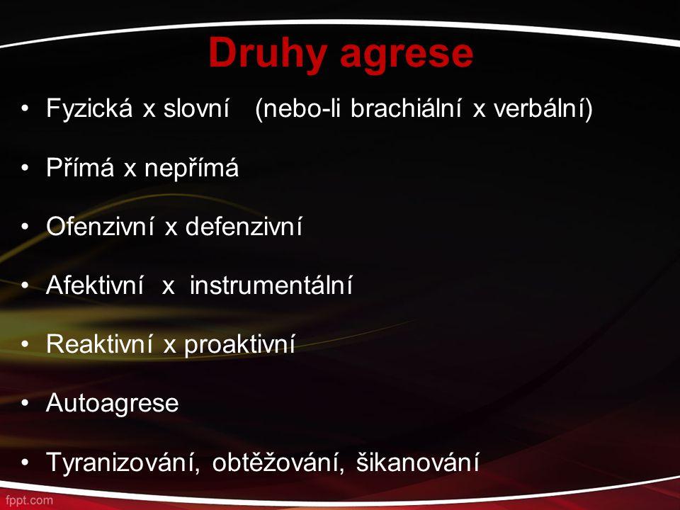 Druhy agrese Fyzická x slovní (nebo-li brachiální x verbální)