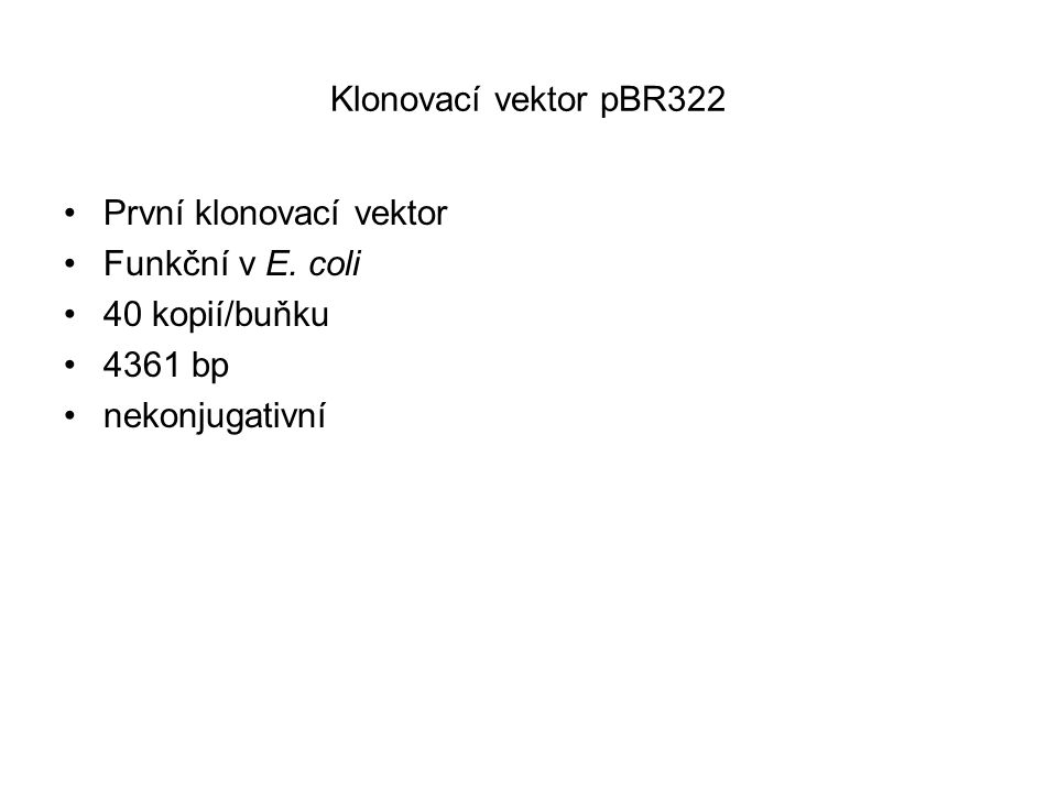 Klonovací vektor pBR322 První klonovací vektor. Funkční v E.