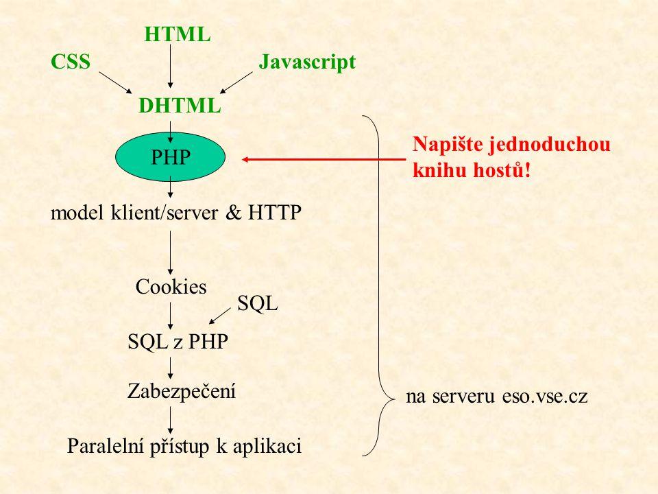 HTML CSS. Javascript. DHTML. Napište jednoduchou. knihu hostů! PHP. model klient/server & HTTP.