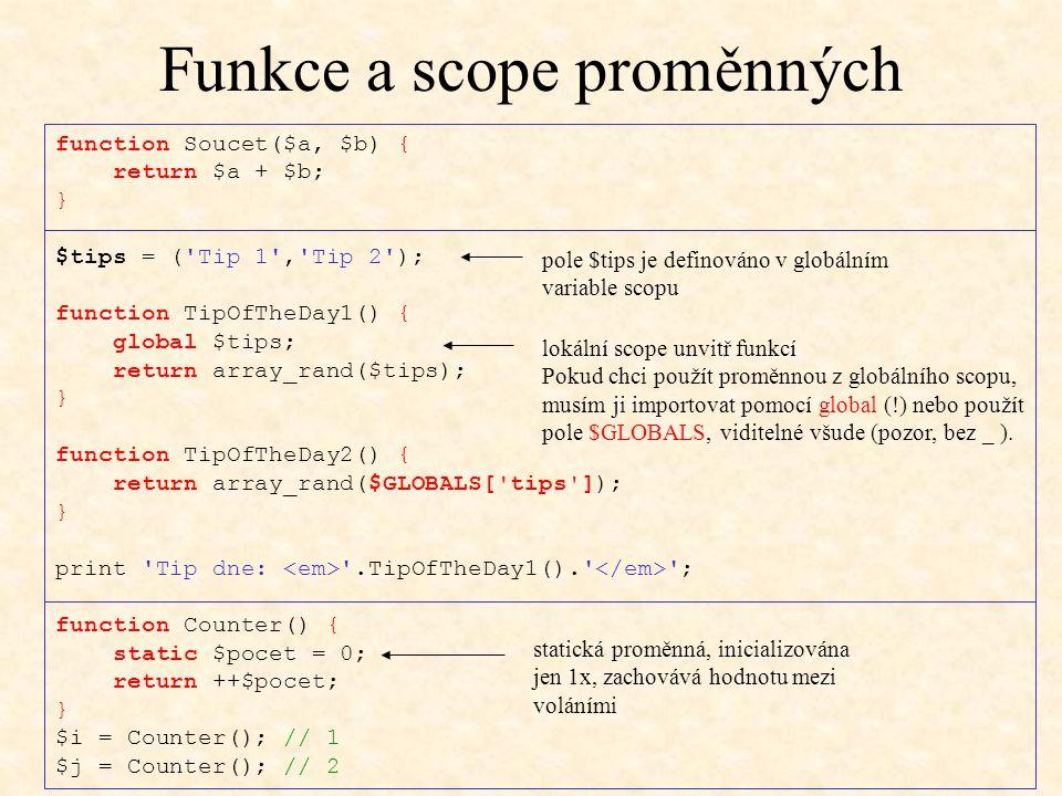 Funkce a scope proměnných