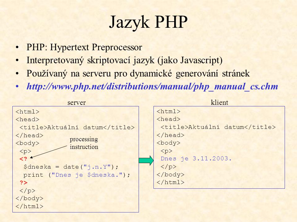 Jazyk PHP PHP: Hypertext Preprocessor