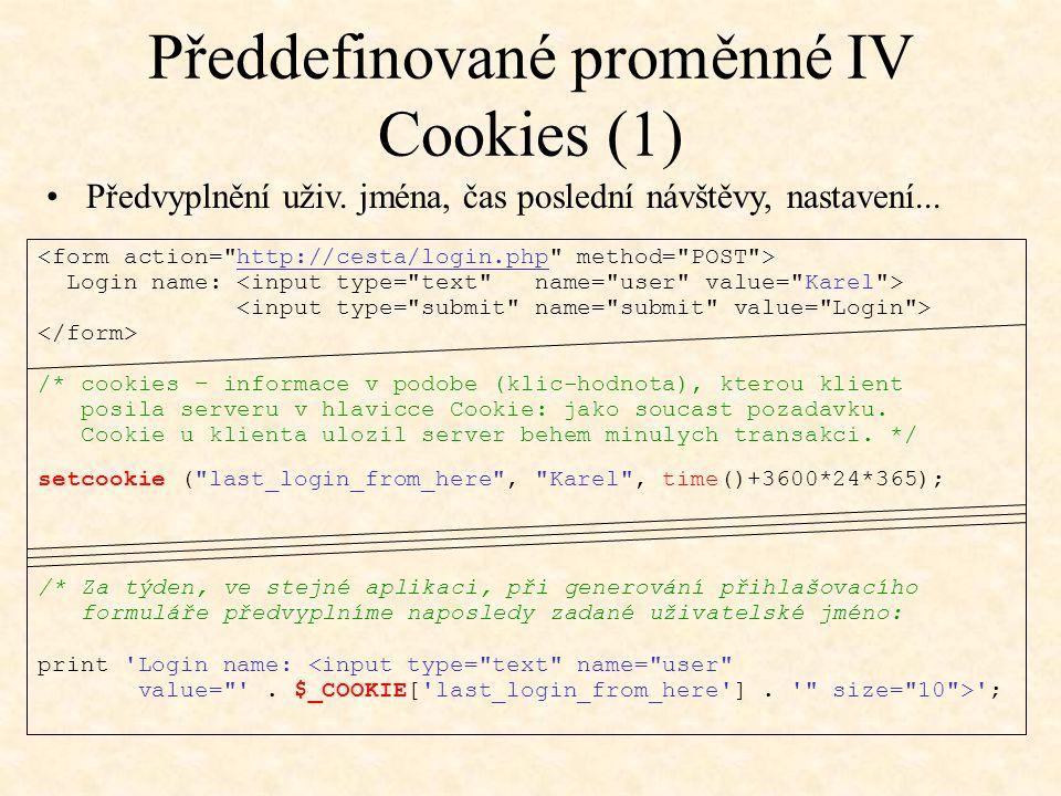 Předdefinované proměnné IV Cookies (1)
