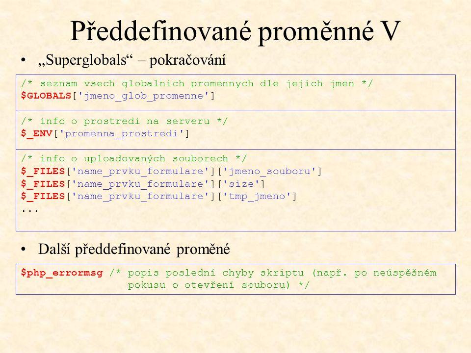 Předdefinované proměnné V