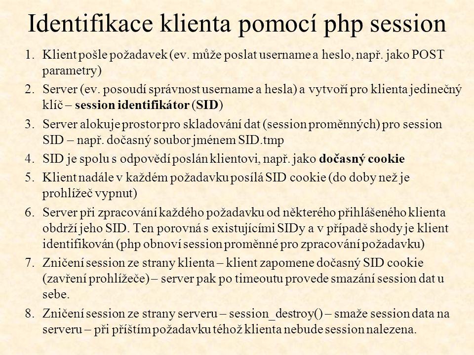 Identifikace klienta pomocí php session