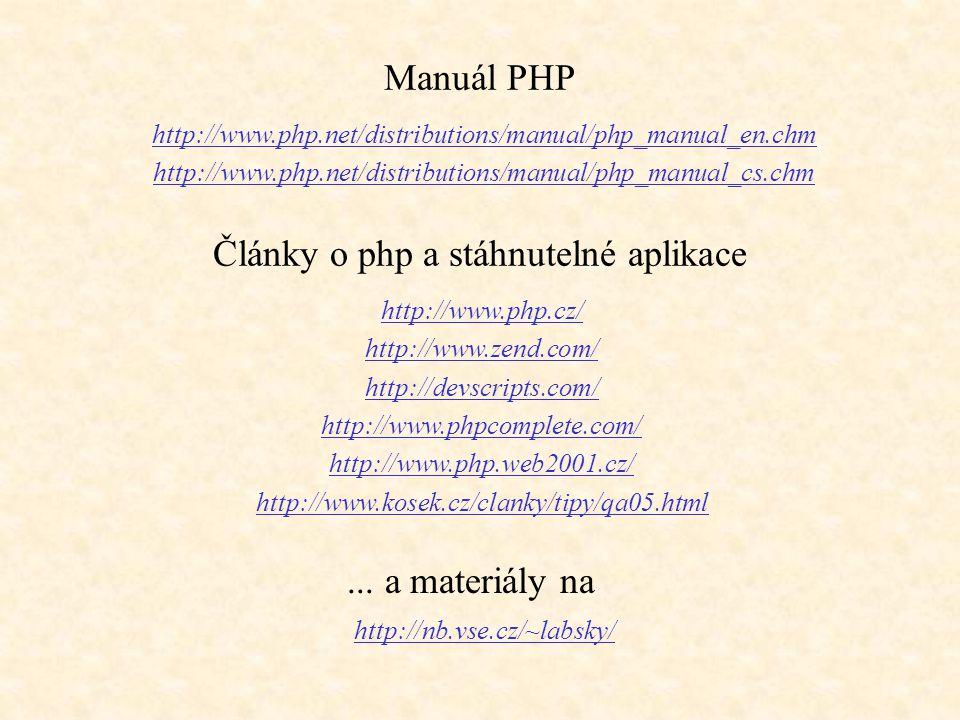 Články o php a stáhnutelné aplikace