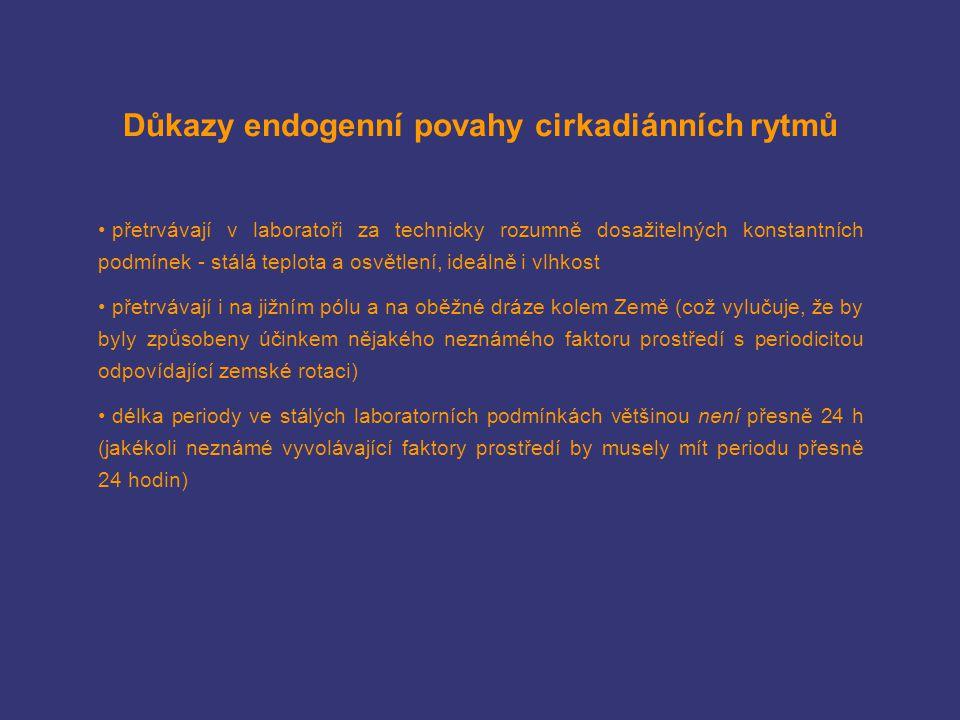 Důkazy endogenní povahy cirkadiánních rytmů