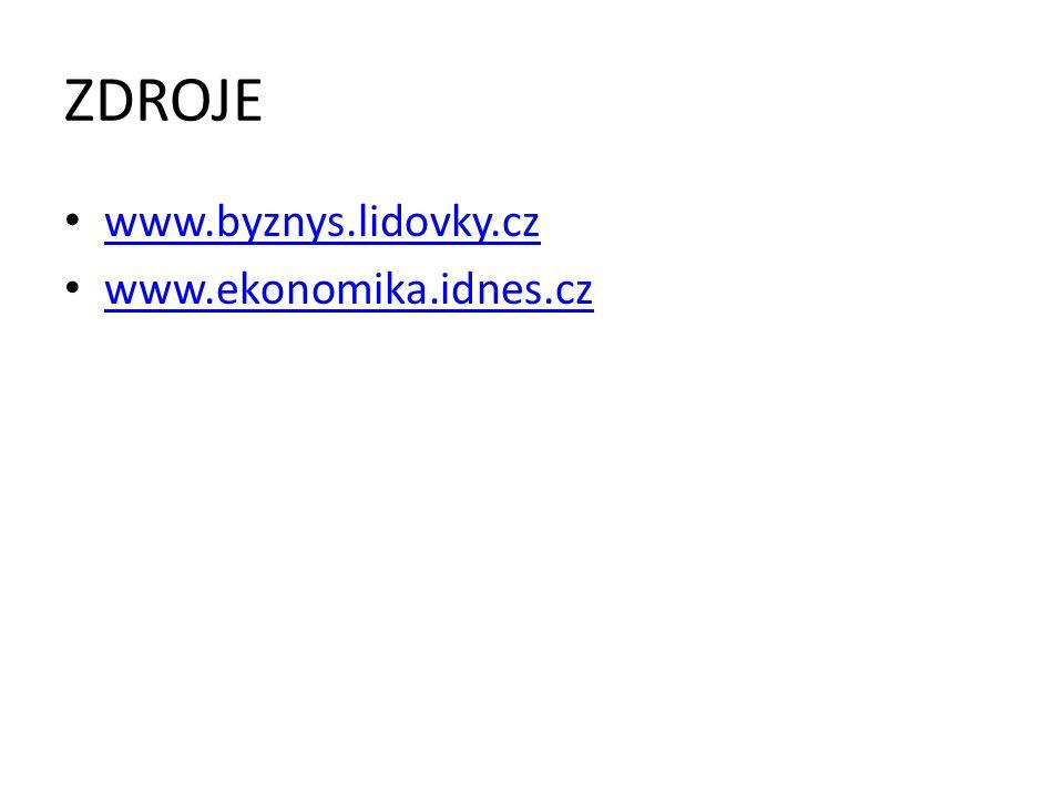 ZDROJE www.byznys.lidovky.cz www.ekonomika.idnes.cz