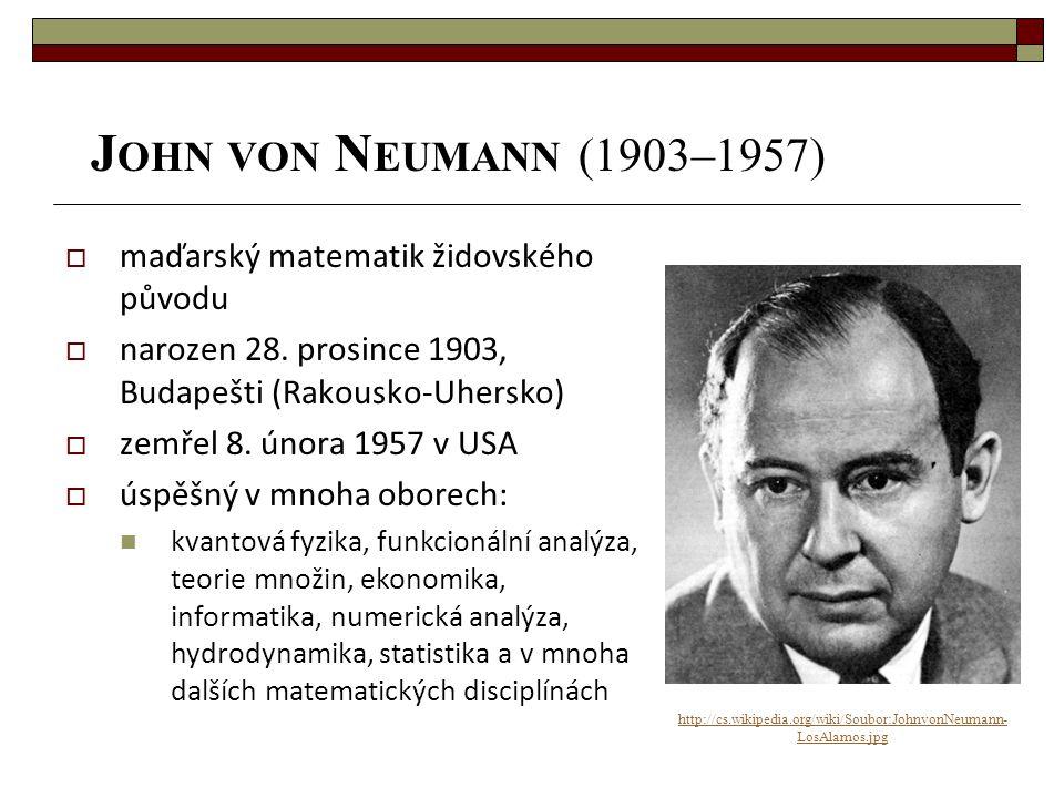 John von Neumann (1903–1957) maďarský matematik židovského původu