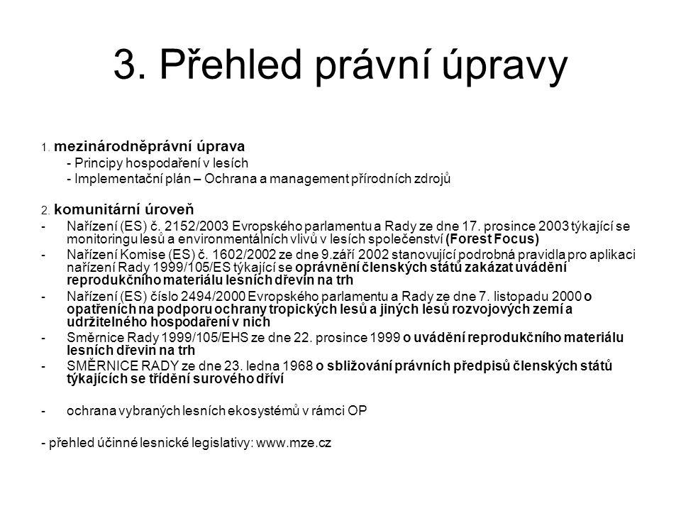 3. Přehled právní úpravy 1. mezinárodněprávní úprava. - Principy hospodaření v lesích.