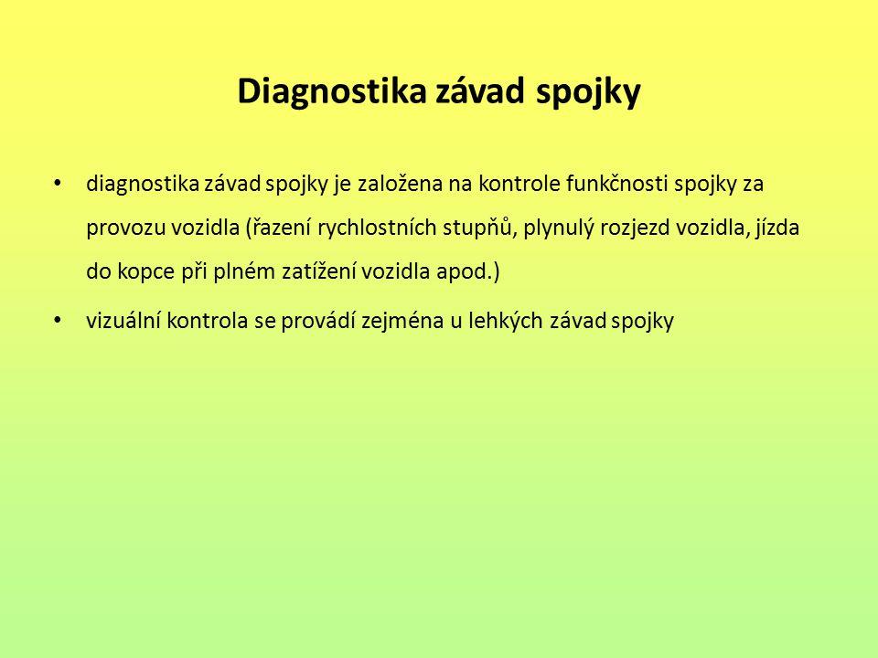 Diagnostika závad spojky
