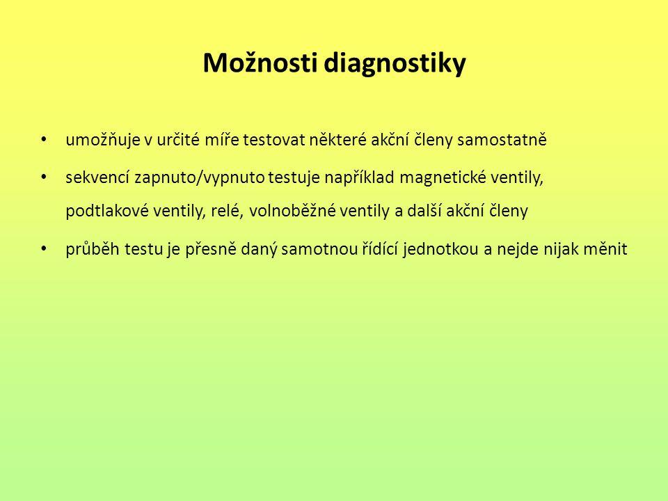 Možnosti diagnostiky umožňuje v určité míře testovat některé akční členy samostatně.