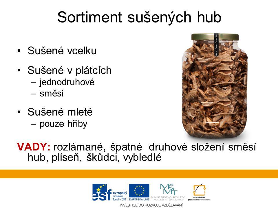 Sortiment sušených hub