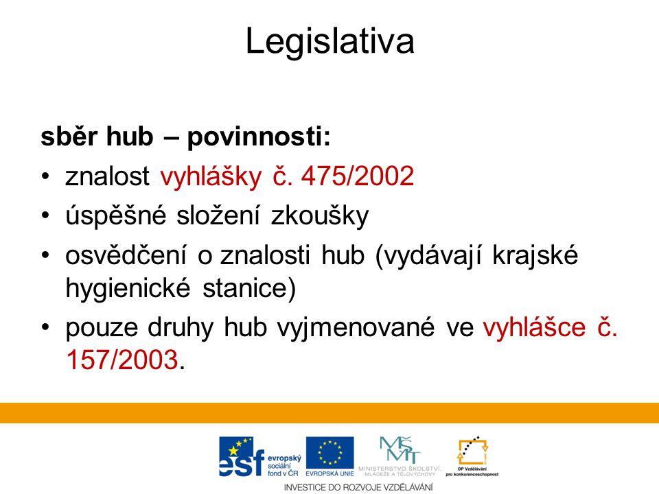 Legislativa sběr hub – povinnosti: znalost vyhlášky č. 475/2002