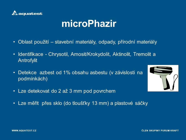 microPhazir Oblast použití – stavební materiály, odpady, přírodní materiály.
