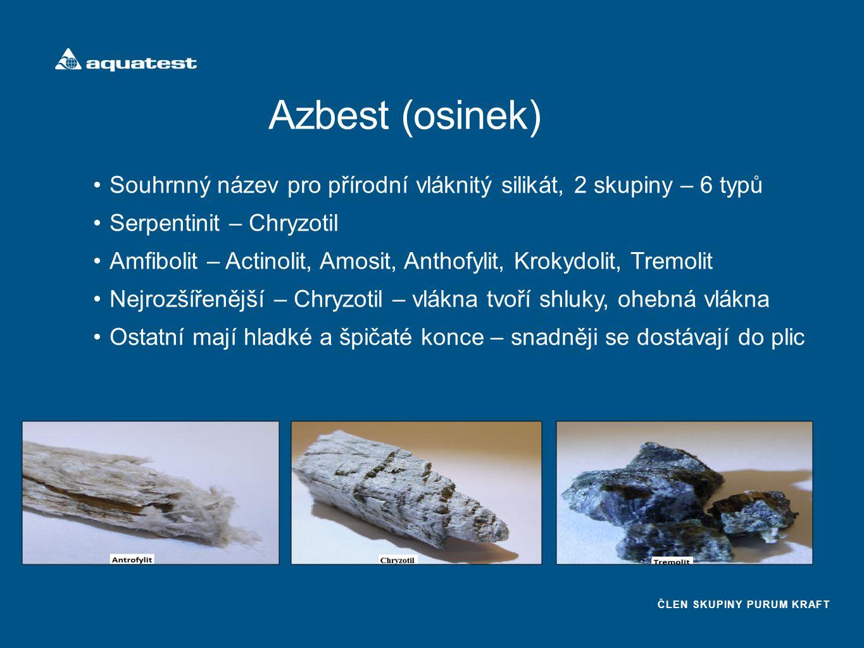 Azbest (osinek) Souhrnný název pro přírodní vláknitý silikát, 2 skupiny – 6 typů. Serpentinit – Chryzotil.