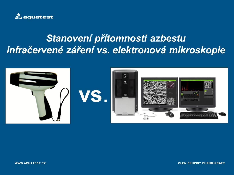Stanovení přítomnosti azbestu infračervené záření vs