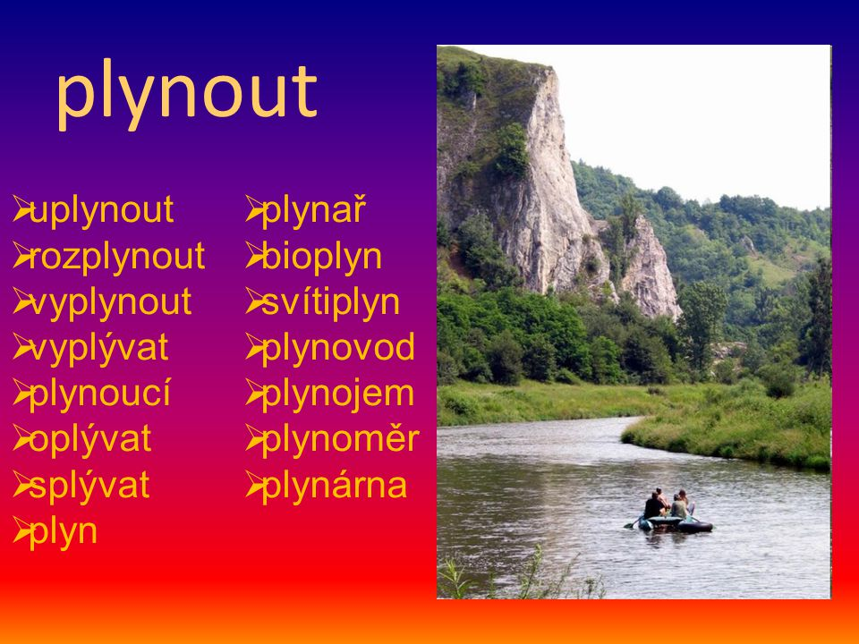 plynout uplynout plynař rozplynout bioplyn vyplynout svítiplyn