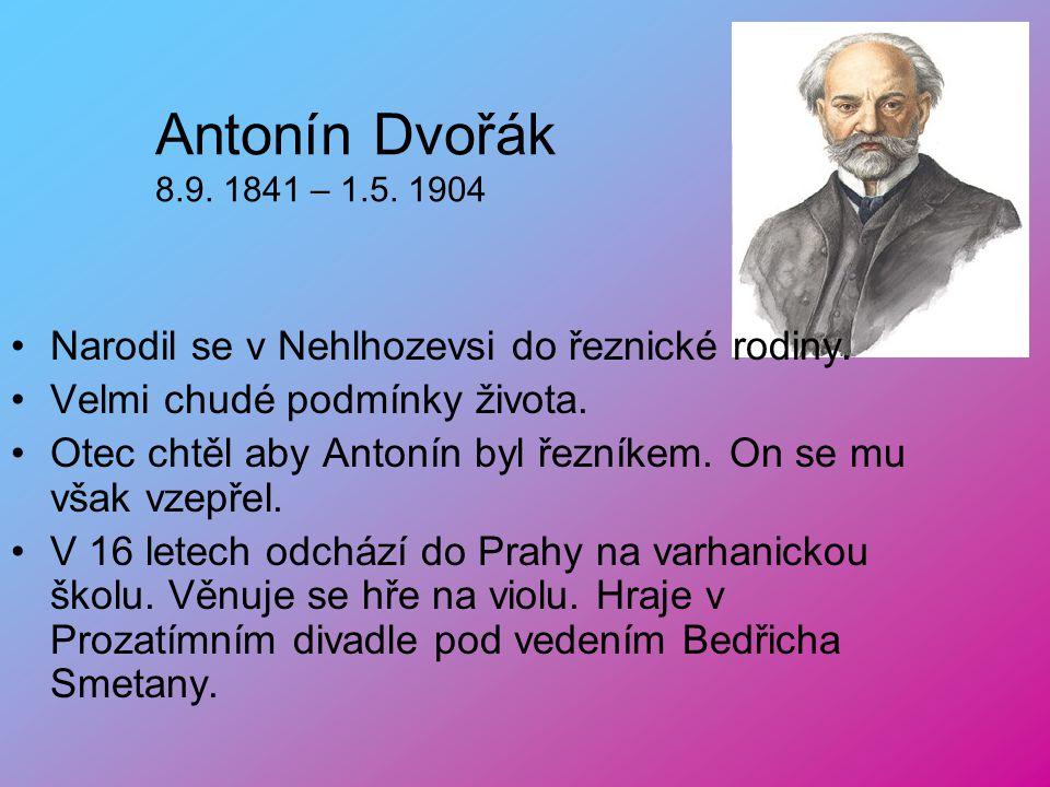 Antonín Dvořák 8.9. 1841 – 1.5. 1904 Narodil se v Nehlhozevsi do řeznické rodiny. Velmi chudé podmínky života.