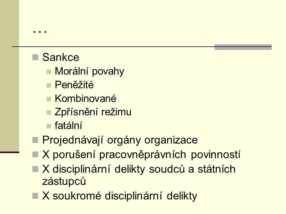 … Sankce Projednávají orgány organizace