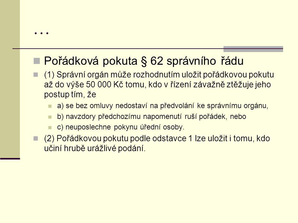 … Pořádková pokuta § 62 správního řádu