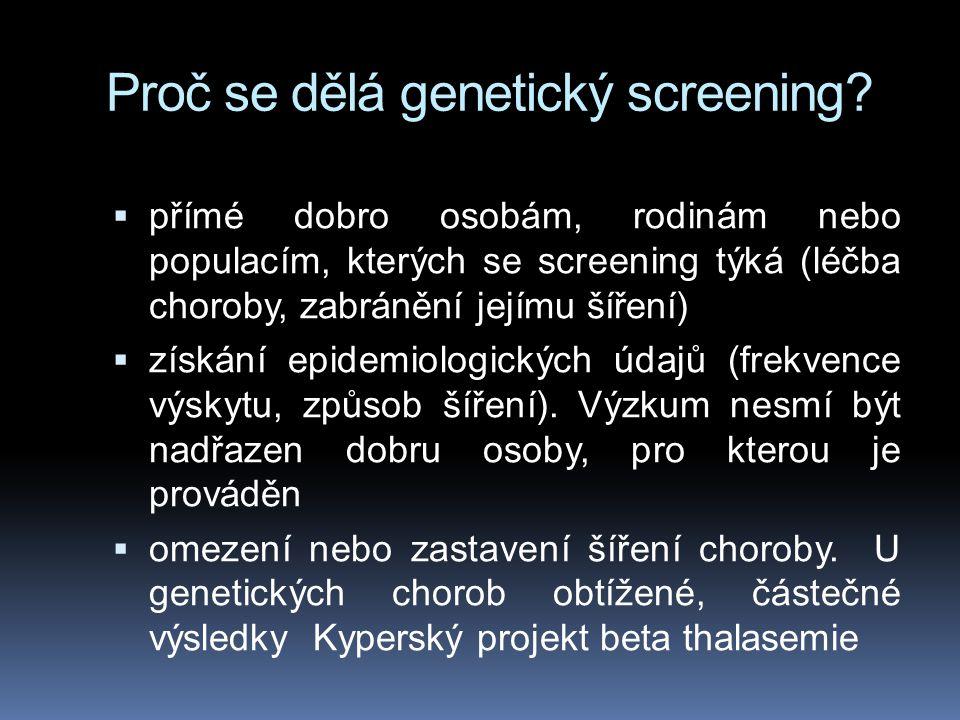Proč se dělá genetický screening