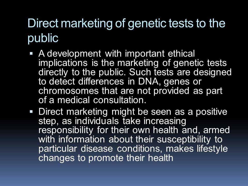 Direct marketing of genetic tests to the public
