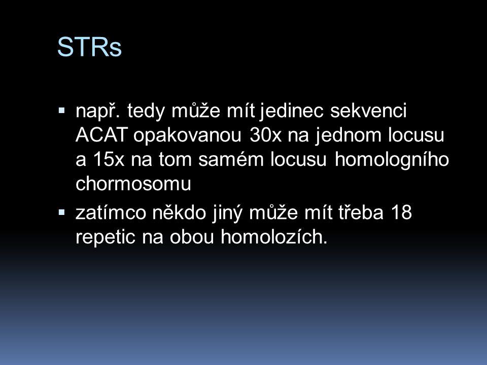 STRs např. tedy může mít jedinec sekvenci ACAT opakovanou 30x na jednom locusu a 15x na tom samém locusu homologního chormosomu.
