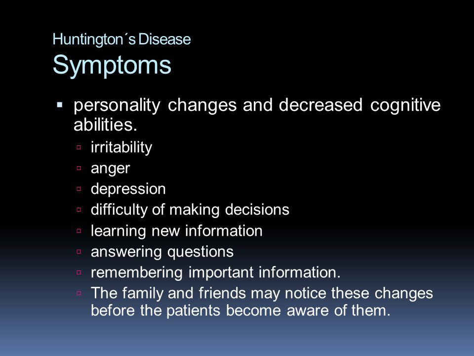 Huntington´s Disease Symptoms