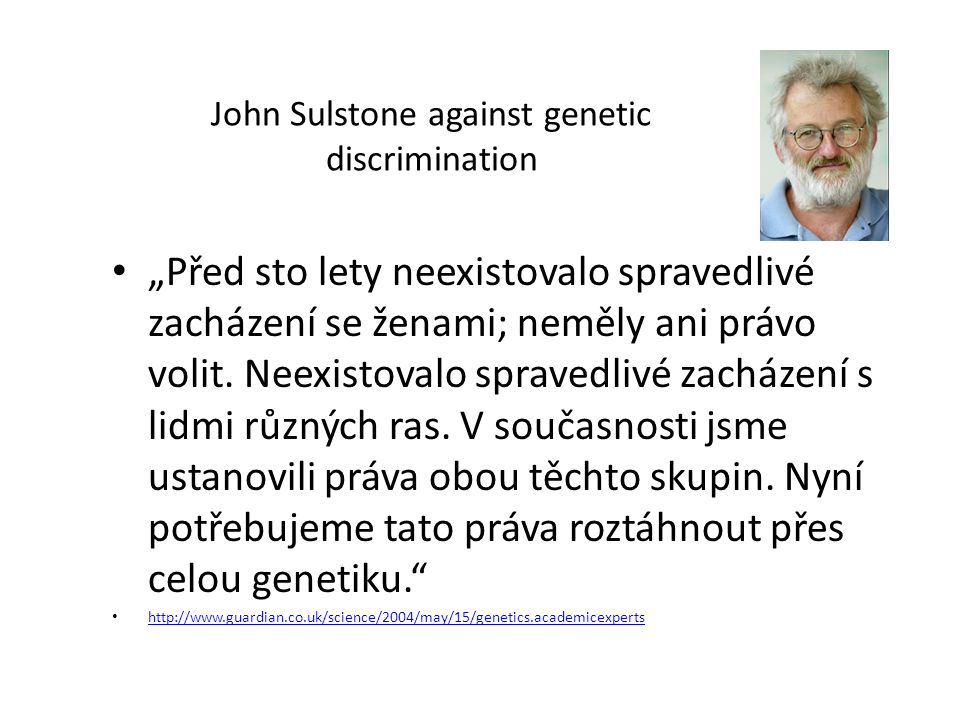 John Sulstone against genetic discrimination