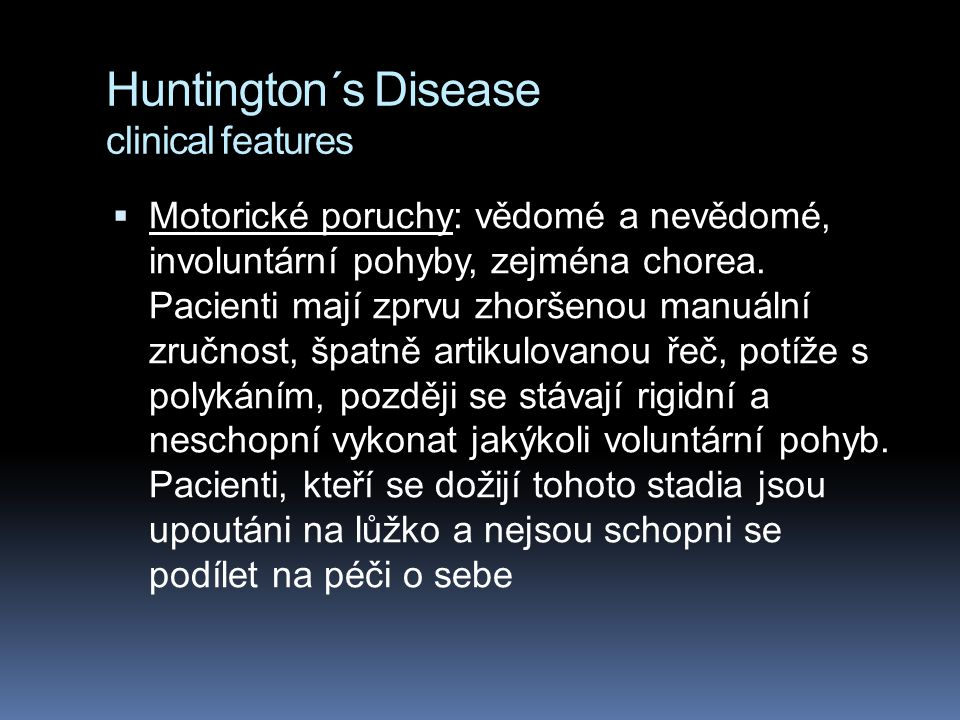 Huntington´s Disease clinical features