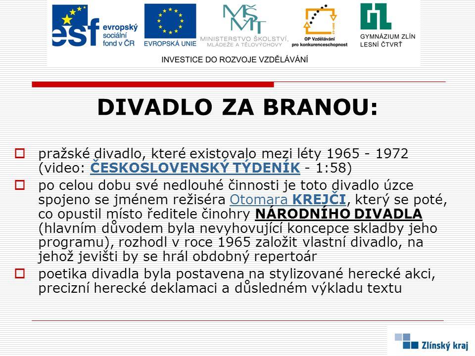 DIVADLO ZA BRANOU: pražské divadlo, které existovalo mezi léty 1965 - 1972 (video: ČESKOSLOVENSKÝ TÝDENÍK - 1:58)