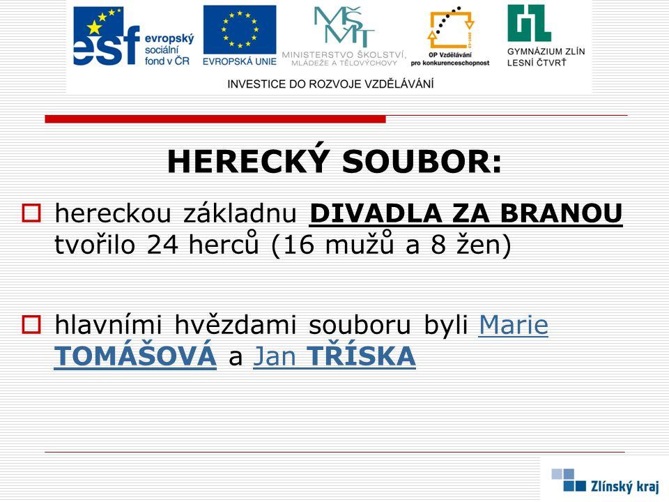HERECKÝ SOUBOR: hereckou základnu DIVADLA ZA BRANOU tvořilo 24 herců (16 mužů a 8 žen) hlavními hvězdami souboru byli Marie TOMÁŠOVÁ a Jan TŘÍSKA.