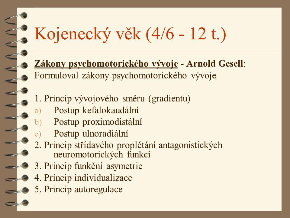 Kojenecký věk (4/6 - 12 t.) Zákony psychomotorického vývoje - Arnold Gesell: Formuloval zákony psychomotorického vývoje.
