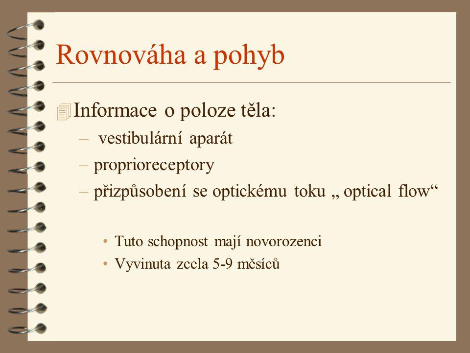 Rovnováha a pohyb Informace o poloze těla: vestibulární aparát