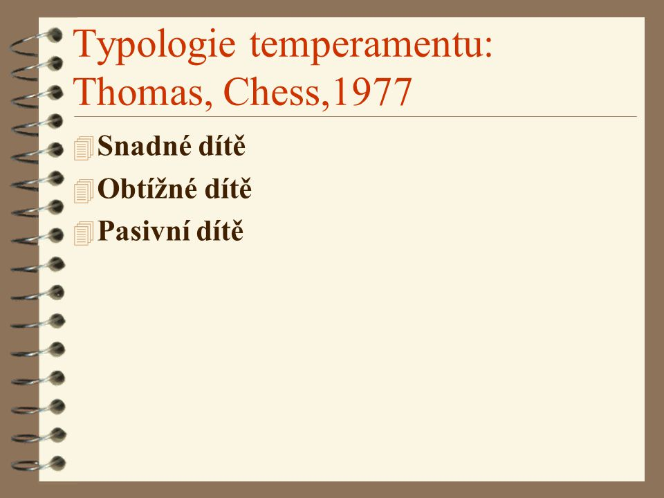 Typologie temperamentu: Thomas, Chess,1977