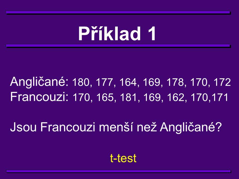 Příklad 1 Angličané: 180, 177, 164, 169, 178, 170, 172. Francouzi: 170, 165, 181, 169, 162, 170,171.