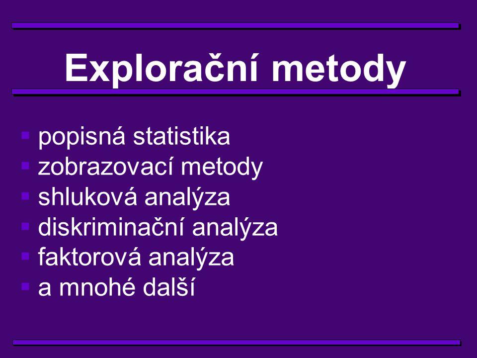 Explorační metody popisná statistika zobrazovací metody