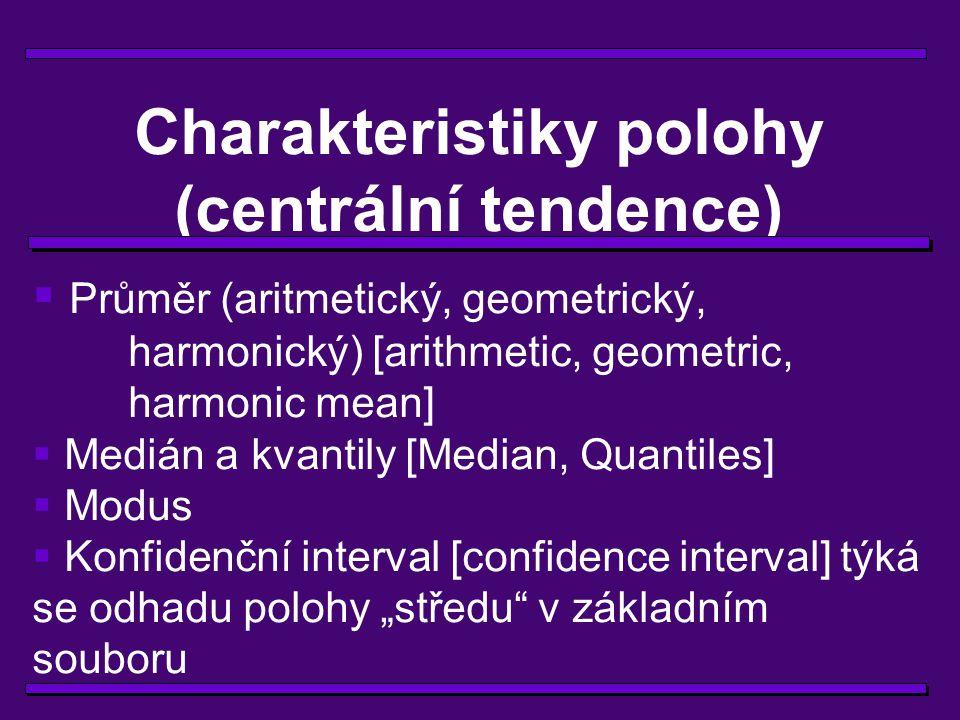 Charakteristiky polohy (centrální tendence)