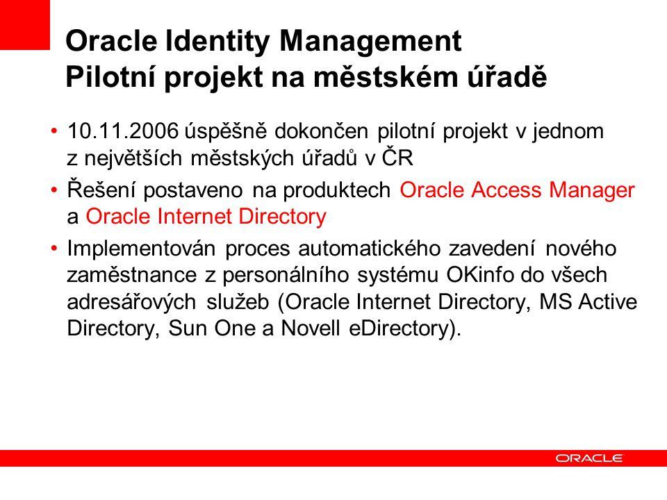 Oracle Identity Management Pilotní projekt na městském úřadě
