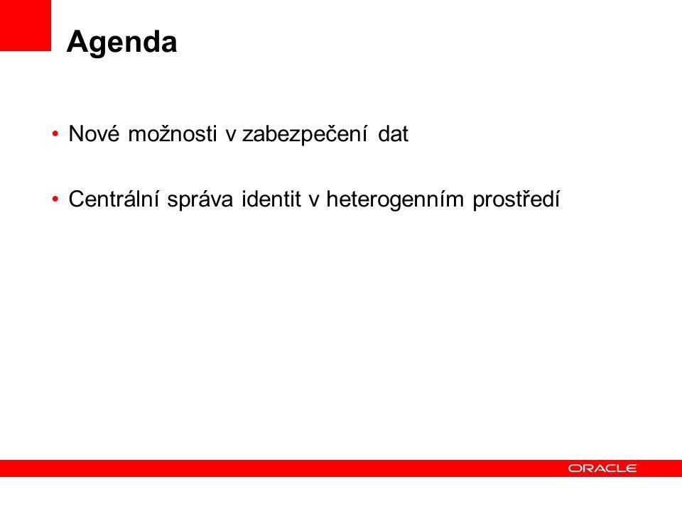 Agenda Nové možnosti v zabezpečení dat