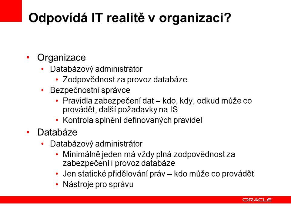 Odpovídá IT realitě v organizaci