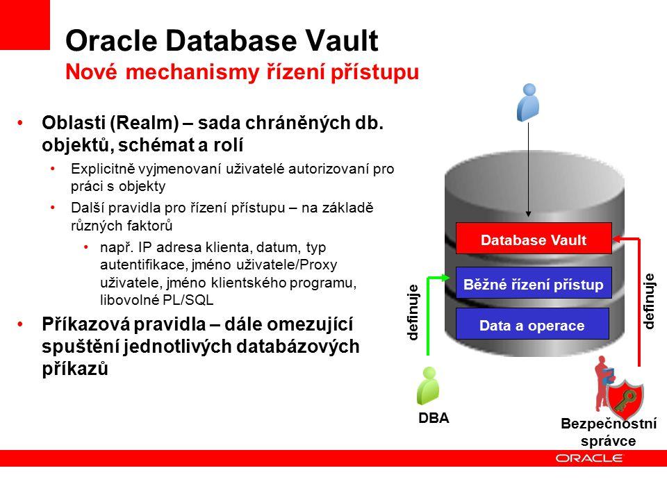 Oracle Database Vault Nové mechanismy řízení přístupu