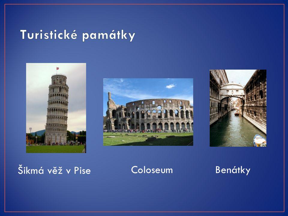Turistické památky Šikmá věž v Pise Coloseum Benátky